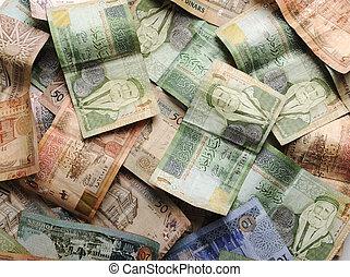 notas, dinheiro, árabe