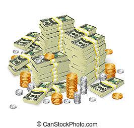 notas, dinheiro, conceito, pilha, moedas