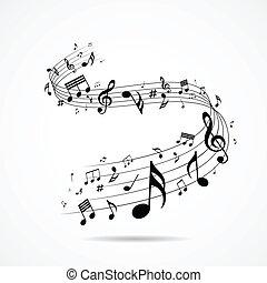 notas, diseño, musical, aislado
