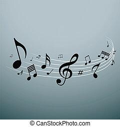 notas, diseño, musical