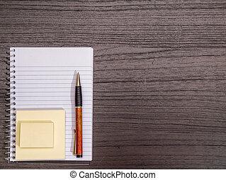 notas, espiral, pegajoso, escrivaninha, caneta, caderno