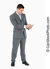 notas, homem negócios, contagem