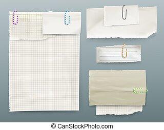 notas, ilustração, clipes, vetorial, papel, mensagem