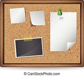 notas, ilustração, fotografias, tábua, em branco, boletim