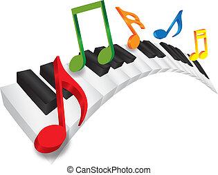 notas, ilustração, ondulado, música, teclado, piano, 3d
