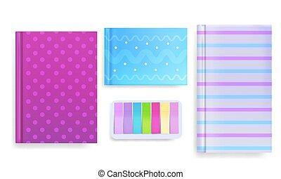 notas, ilustração, vetorial, diário, coberturas, mensagem