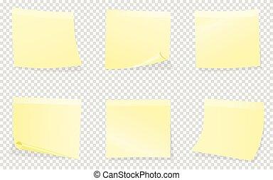 notas, isolado, amarela, pegajoso, fundo, transparente