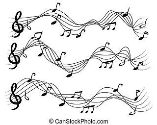 notas, jogo, musical