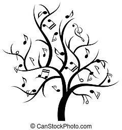 notas música, árvore, musical