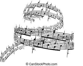 notas, música, 3d