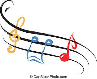notas, música, abstratos