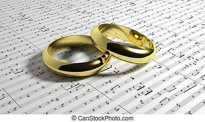 notas música, anéis, fundo, casório