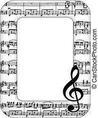 notas música, armação quadro