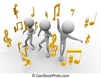 notas, música, bailando
