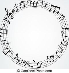 notas música, borda