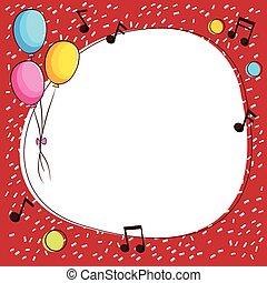 notas música, borda, modelo, balões