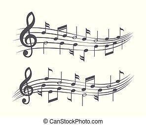 notas, música, branca, aduelas