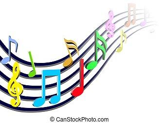 notas, música, coloridos