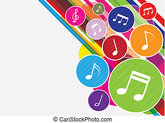 notas, música, coloridos, fundo