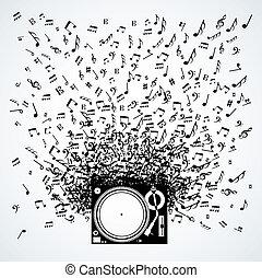 notas música, de, plataforma giratória, isolado, desenho