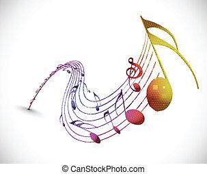 notas música, desenho