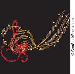 notas música, e, amor, desenho, vetorial
