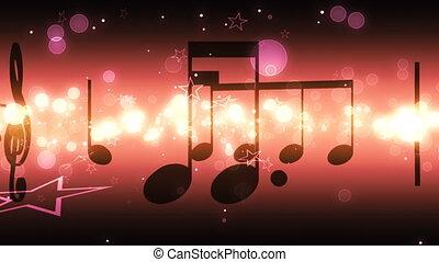notas música, e, estrelas, volta