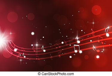 notas, música, experiência vermelha