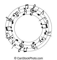 notas música, folha, padrão, ícone