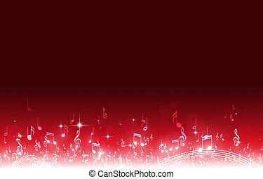 notas, música, fondo rojo