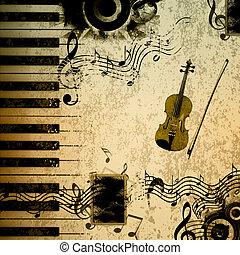 notas música, fundo