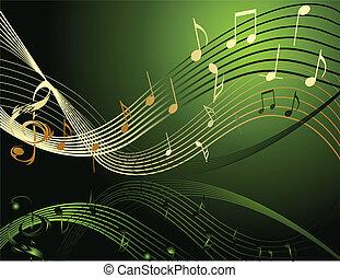 notas, música, fundo