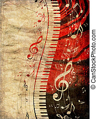 notas música, grunge, teclado piano