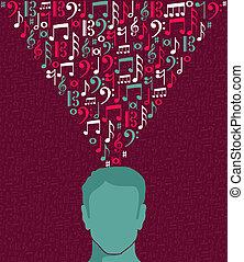 notas música, human, homem, cabeça, ilustração