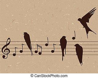 notas música, ilustração, pássaros