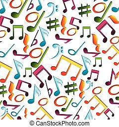 notas, música, isolado, ícone