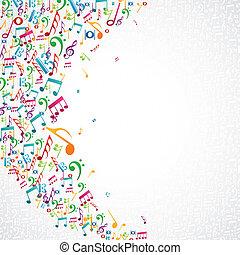 notas música, isolado, desenho