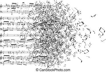 notas, música, lejos, bailando