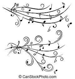 notas música, ligado, pessoal