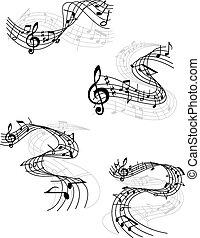notas música, ligado, rodar, aduelas