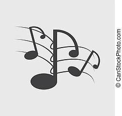 notas música, ligado, um, solide, fundo branco