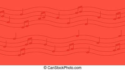notas música, ligado, vermelho, experiência.