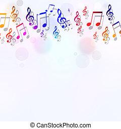 notas, música, luminoso, fundo