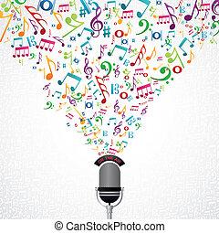 notas música, microfone, desenho