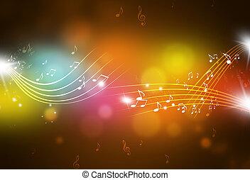 notas, música, multicolor, fundo