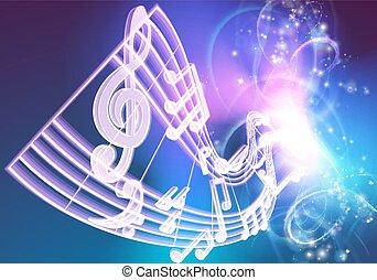 notas, música, musical, fundo