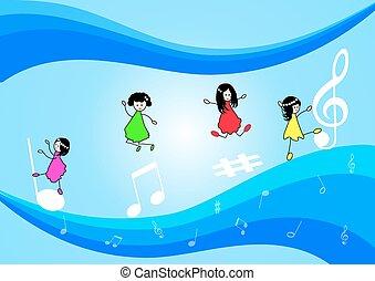 notas, música, niños