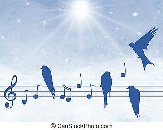 notas, música, pássaros, ilustração