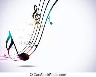 notas música, partido, fundo