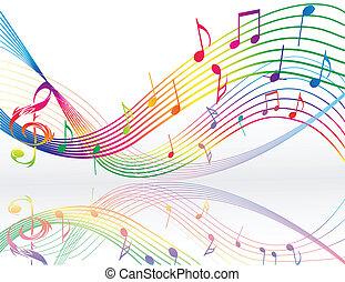 notas, música, plano de fondo